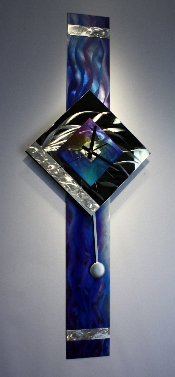Modern Metal Wall Art Pendulum Clock Abstract Sculpture Decor Abstract Painting Clock On Metal Original Art Design By Alex Kovacs Ak445 Alex Kovacs Metal Art